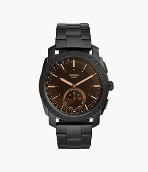 Montre intelligente hybride Fossil Machine en acier inoxydable noir