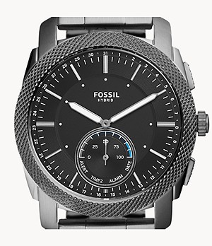 Montre connectée hybride Fossil Machine en acier inoxydable anthracite