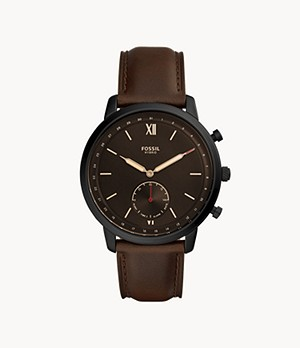 Herren Hybrid Smartwatch Neutra Leder Whiskey