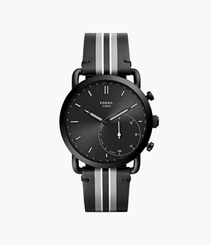 Hybrid Smartwatch Commuter Black Stripe Leather