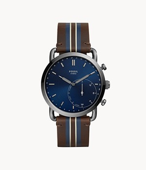 Hybrid Smartwatch Commuter Brown Stripe Leather