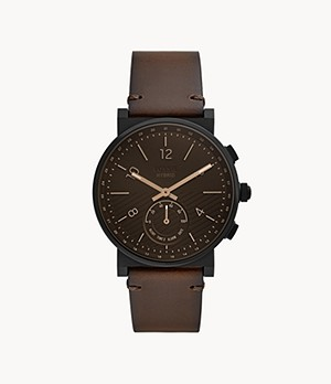 Hybrid Smartwatch Barstow Dark Brown Leather