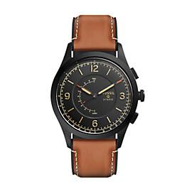 Herren Hybrid Smartwatch Activist - Leder - Braun