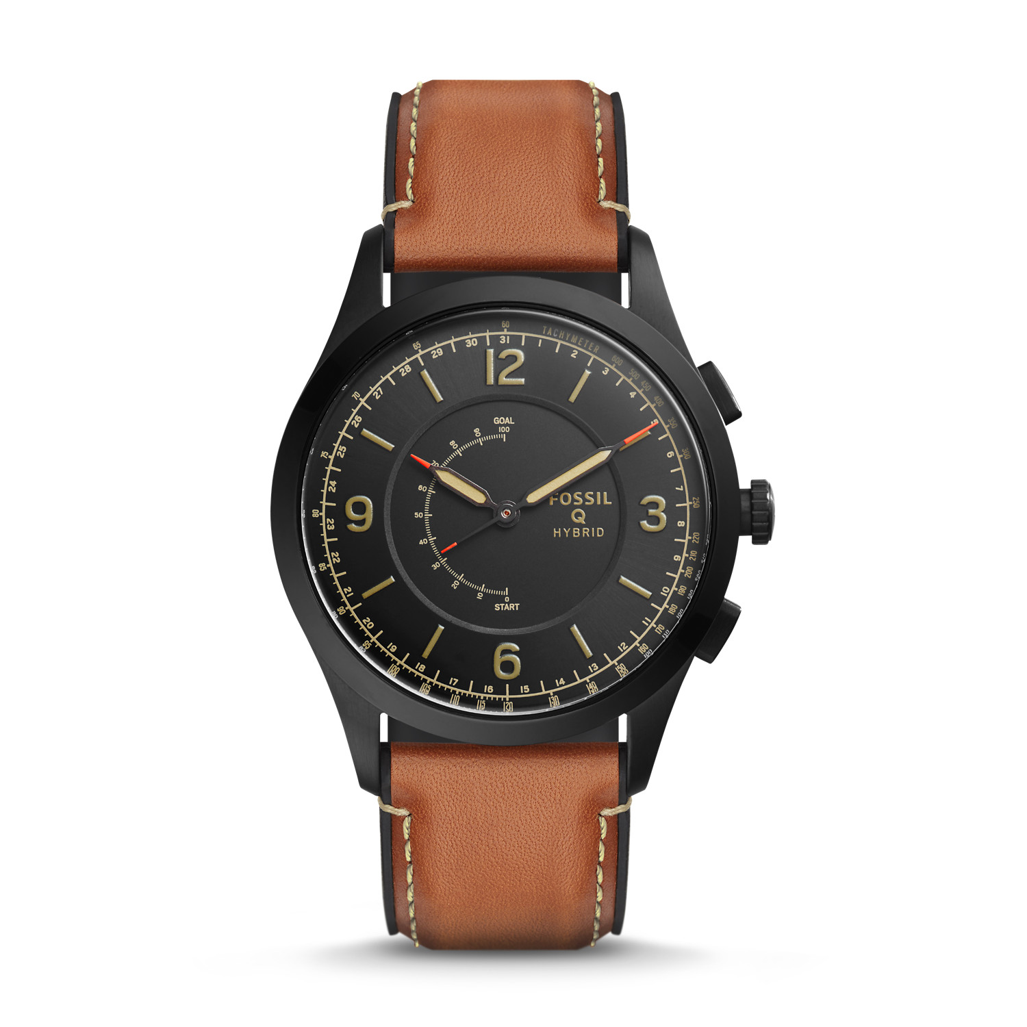 hybrid smartwatch activist luggage leather fossil