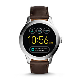 Smartwatch - Q Founder - Touchscreen digital - Leder - Braun