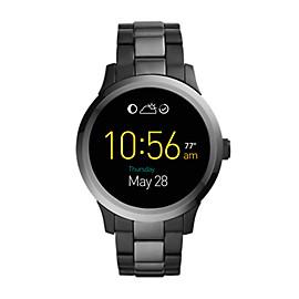 Herren Smartwatch Q Founder - Digital Display - Touchscreen - Edelstahl - Grau/Anthrazit