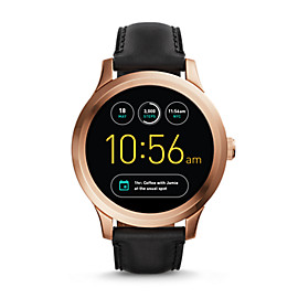 Herren Smartwatch Q Founder - Digital Display - Touchscreen - Leder - Schwarz