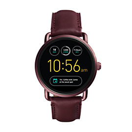 Q Wander Touchscreen Wine Leather Smartwatch