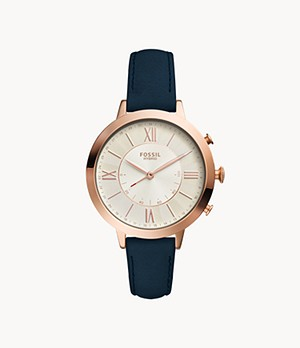 Hybrid Smartwatch Jacqueline Navy Leather