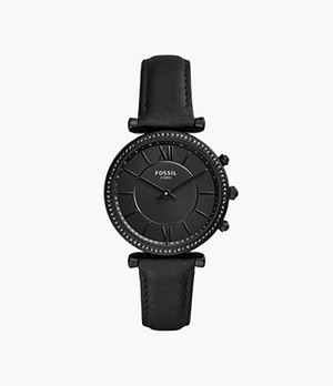 Hybrid Smartwatch Carlie Black Leather