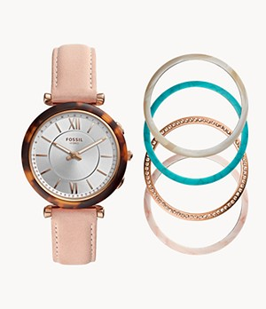 REFURBISHED Hybrid Smartwatch Carlie Blush Leather Interchangeable Bezel Box Set