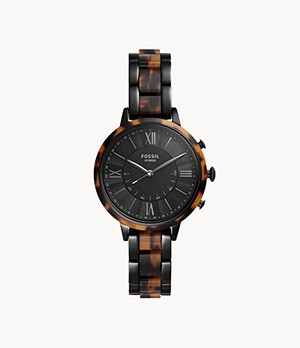 Hybrid Smartwatch Jacqueline Two-Tone Black and Tortoise Stainless Steel