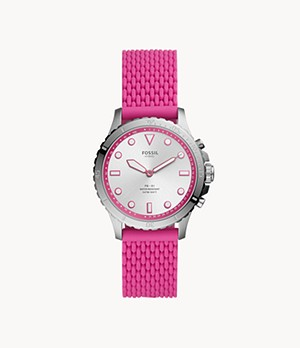 Montre intelligente hybride FB-01 en silicone rose vif