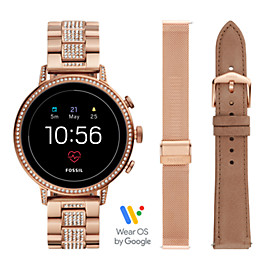 Coffre de montre intelligente Gen 4 - Fossil Venture HR avec bracelet interchangeable en acier inoxydable or rose