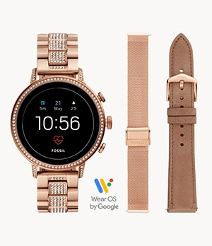 Gen 4 Smartwatch Venture HR Rose-Gold-Tone Stainless Steel Interchangeable Strap Box Set