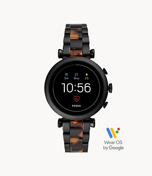Gen 4 Smartwatch Sloan HR Two-Tone Black and Tortoise Stainless Steel
