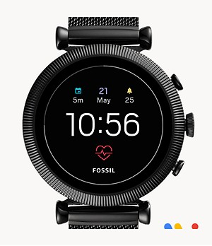 REFURBISHED Gen 4 Smartwatch Sloan HR Black Stainless Steel Mesh