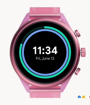 Montre intelligente sport Fossil de 41 mm en silicone rose vif
