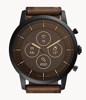 Smartwatch ibrido HR Collider con cinturino in pelle marrone scuro