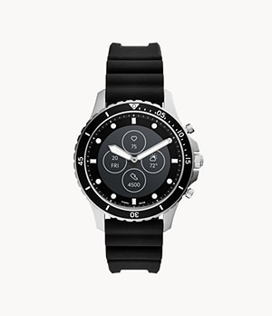 Montre intelligente hybride HR FB-01 en silicone noir