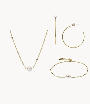 White Glass and Gold-Tone Jewelry Product Set