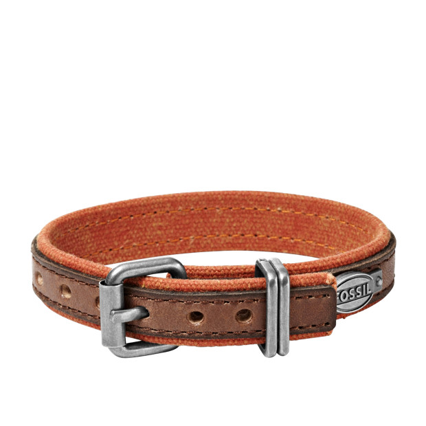 Leather and Canvas Bracelet – Two-Tone