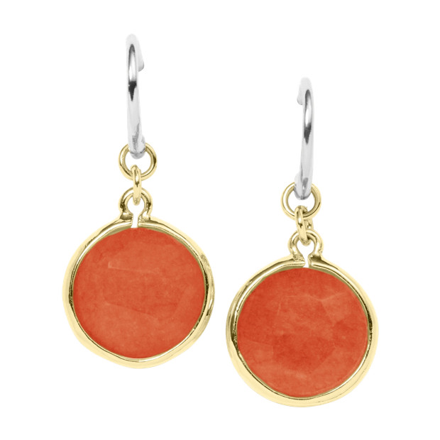 Round Stone Earring - Coral