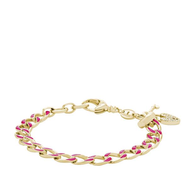 Enamel Link Charm Starter Bracelet - Pink