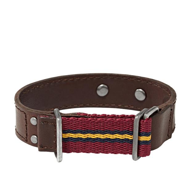 Leather Textile Bracelet- Brown