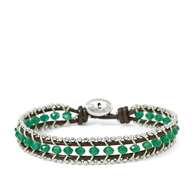 Beaded Leather Bracelet -Green
