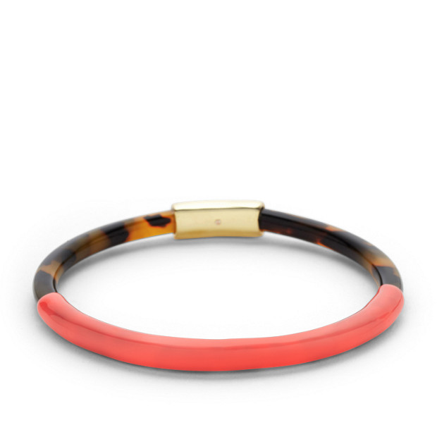 Skinny Enamel Bangle-Tort and Coral