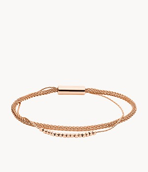 Rose Gold-Tone Brass Multi Strand Bracelet