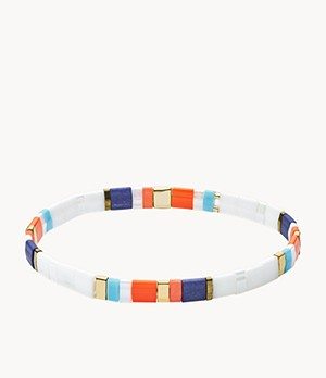 Festival Multi-Colored White Beaded Bracelet