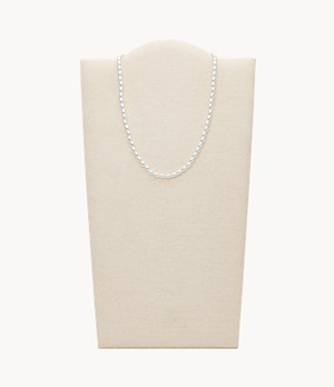Faux Pearl Brass Station Necklace