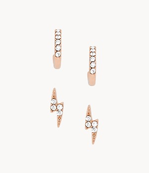 Rose Gold-Tone Brass Hoop and Stud Earrings Set