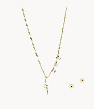 Gold-Tone Brass Pendant Necklace and Stud Earrings Set