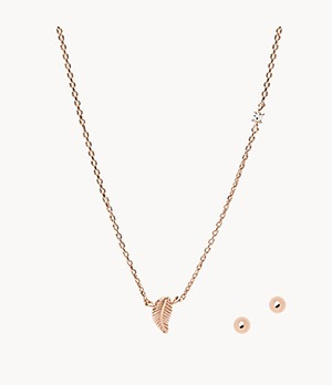 Rose Gold-Tone Brass Pendant Necklace and Faux Pearl Stud Earrings Set