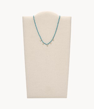 Tranquil Summer Turquoise Blue Brass Beaded Necklace