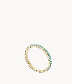 Tranquil Summer Turquoise Blue Brass Band Ring