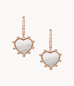 Valentine's Day Mother-of-Pearl Brass Hoop Earrings