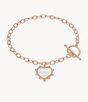 Valentine's Day Mother-of-Pearl Brass Chain Bracelet