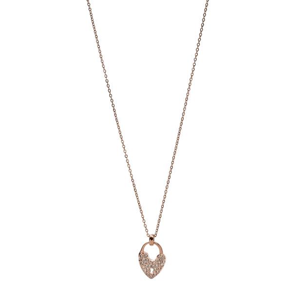 Sparkle Heart Necklace - Rose