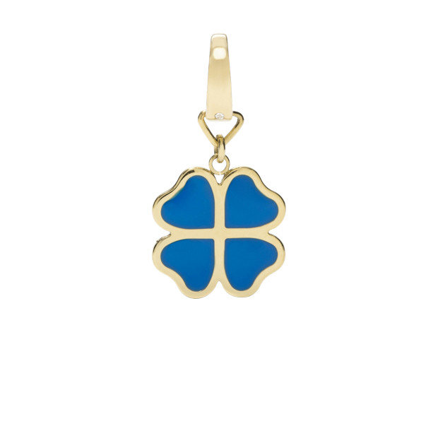 Four Leaf Enamel Charm - Blue