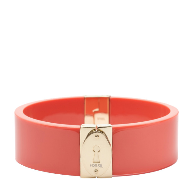 Wide Resin Bangle - Coral