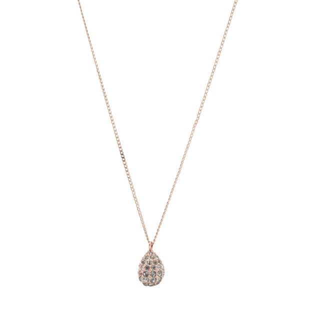 Pave Teardrop Pendant Necklace - Rose