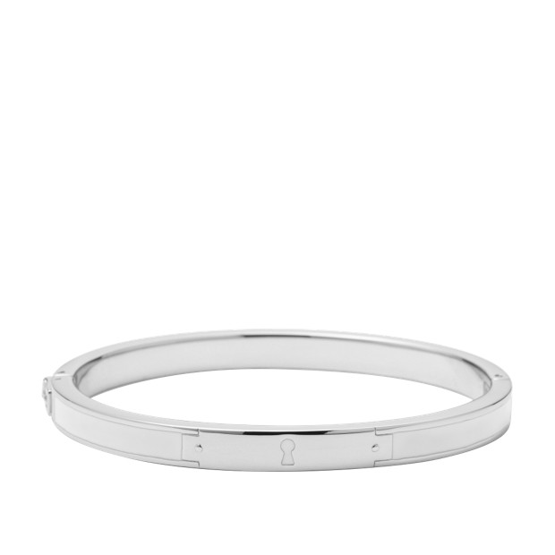 Keyhole Bangle - White