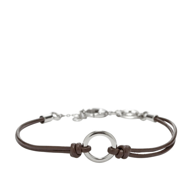 Leather Circle Charm Bracelet - Brown