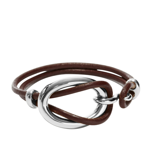 Link Wrist Wrap - Silver-Tone and Chocolate