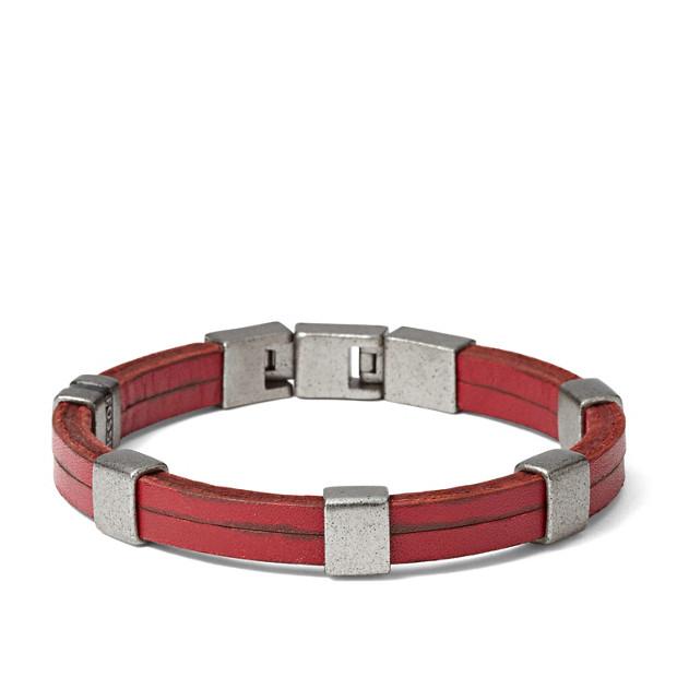 Leather Cubes Bracelet - Red