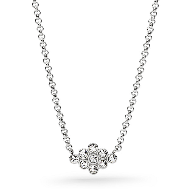 Vintage Glitz Diamond-Shaped Silver-Tone Pendant